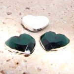 Emerald Jewel Faceted - 18mm. Heart Cabochons - Lots of 144