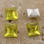 Lime Jonquil Jewel - 6x6mm Square Faceted Gem Jewel - Lot of 144