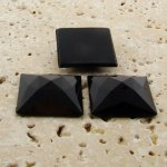 Jet Opaque Faceted - 20mm. Square Domed Cabochons - Lots of 144