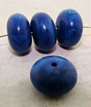 BLUE MARBLE 18X10MM ROUND DONUT BEADS - Lot of 12