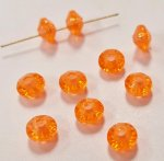 ORANGE 4x6mm. BRIGHT FACETED BICONE SPACER BEADS - Lots of 24
