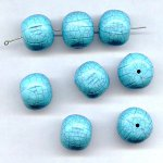 TURQUOISE MATRIX 18X20MM SQUASHED ROUND BEADS - Lot of 12