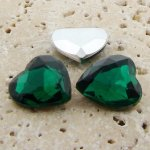 Emerald Jewel - 18mm. Heart Faceted Gem Jewels - Lots of 144