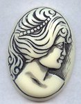 BLACK WASH 40X30MM OVAL LADY HEAD CAMEOS - Lot of 12