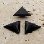Jet Opaque Faceted - 18x18mm. Triangle Cabochons - Lots of 144
