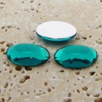 Teal Jewel Faceted - 25x18mm. Oval Domed Cabochons - Lots of 72