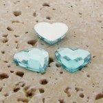 Aqua Jewel Faceted - 15mm. Heart Domed Cabochons - Lots of 144
