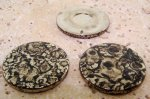 35mm. SILVER BLACK WATERSPOT ROUND CABOCHONS - Lot of 36