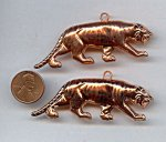 70X29MM COPPER COATED TIGER DOUBLE SIDED PEDANTS - Lot of 12