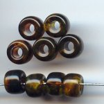 BROWN MARBLE 6X9MM PONY BEADS - Lot of 12