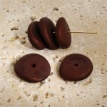 BROWN MATTE 20X5MM NUGGET BEADS - Lot of 12