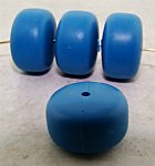 BLUE MATTE 18X11MM ROUND DONUT BEADS - Lot of 12