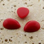 Red Opaque - 25x18mm. Pear Domed Cabochons - Lots of 72