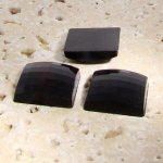 Jet Opaque Faceted - 25mm. Square Domed Cabochons - Lots of 72