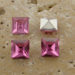 Pink Jewel - 6x6mm. Square Faceted Gem Jewels - Lots of 144