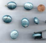BLUE METALLIC MARBLE 24x20mm. FLAT OVAL BEADS - Lots of 12