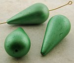 GREEN METALLIC 37X18MM SMOOTH TEAR DROP BEADS - Lot of 12