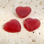 Cornelian Opaque Smooth - 18mm. Heart Cabochons - Lots of 144