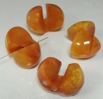 AMBER MARBLE 16x24mm. SMOOTH INTERLOCKING BEADS - Lots of 12