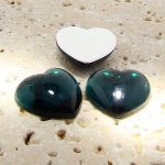 Emerald Jewel Smooth - 18mm. Heart Domed Cabochons - Lots of 144