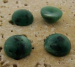 13mm. GREEN MATTE MARBLE ROUND CABOCHONS - Lot of 48