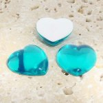 Aqua Jewel Smooth - 18mm. Heart Domed Cabochons - Lots of 144