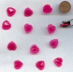 Red Pink Opaque Faceted Framed - 15mm Heart Cabochon - Lot of 72