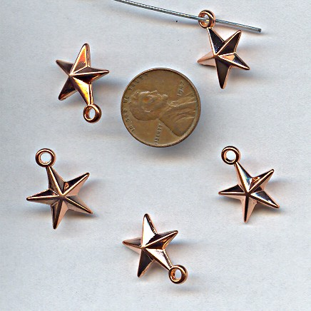 19X15MM COPPER COATED STAR PENDANTS - Lot of 12