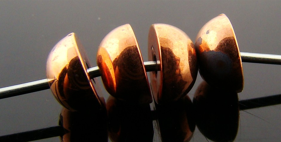 3X6MM COPPER COATED 1/2 BALL SMOOTH BEADS - Lot of 12