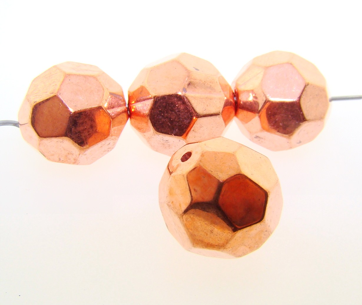 16MM COPPER COATED ROUND FACETED BEADS - Lot of 12