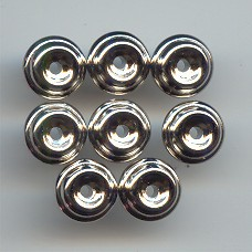 SILVER PLATED 10MM ROUND SPACER BEADS - Lot of 12