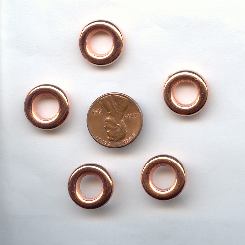 16MM COPPER COATED RING SPACER BEADS - Lot of 12