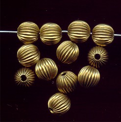 BRASS CORRUGATED 8MM ROUND BEADS - Lot of 12