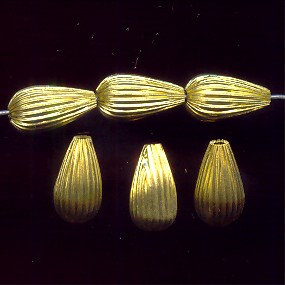 BRASS CORRUGATED 15X8MM TEAR DROP BEADS - Lot of 12