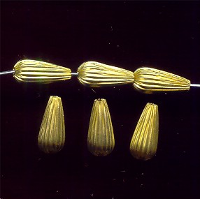 BRASS CORRUGATED 14X6MM TEAR DROP BEADS - Lot of 12