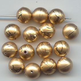 GOLD DRIZZLE 10MM ROUND BEADS - Lot of 12