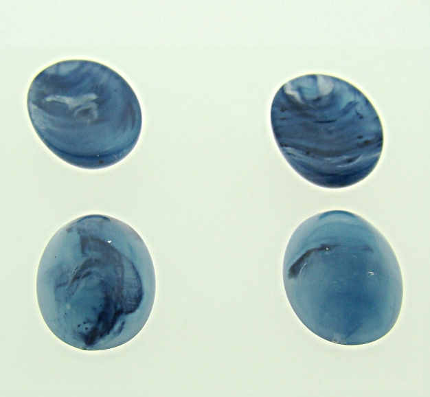14x10mm. LAPIS MATTE MARBLE OVAL CABOCHONS - Lot of 48
