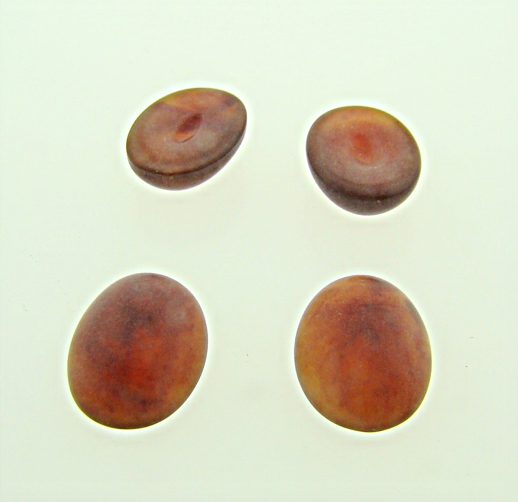 14x10mm. BROWN MATTE MARBLE OVAL CABOCHONS - Lot of 48