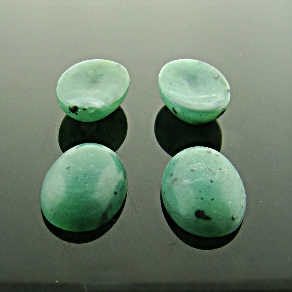 14x10mm. JADE MATTE MARBLE OVAL CABOCHONS - Lot of 48