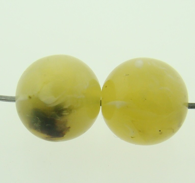 OLIVE GREEN SHINY MARBLE 12MM SMOOTH ROUND BEADS - Lot of 12