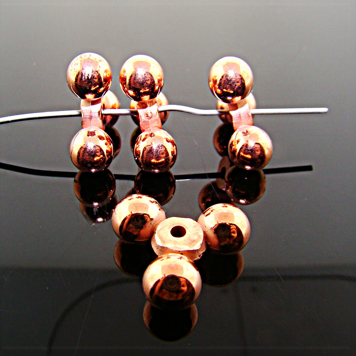 15MM COPPER COATED TRI BALL SPACER BEADS - Lot of 12