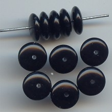 BLACK 4X10MM ROUND SPACER DISC BEADS - Lot of 12