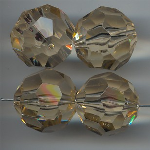 HONEY TOPAZ 22MM ROUND FACETED BEAD - Lot of 12