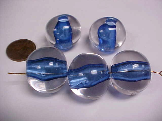 CRYSTAL BLUE LINED 20MM LARGE HOLE ROUND BEADS - Lot of 12