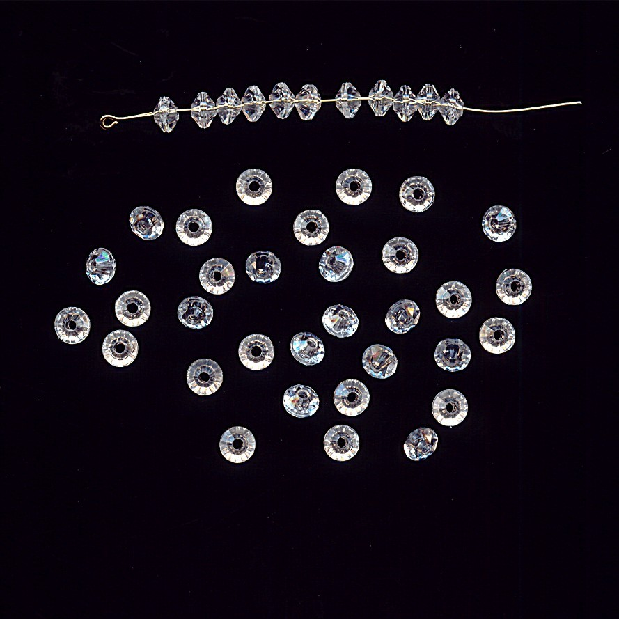 CRYSTAL 4X6MM FACETED ROUND DISC SPACER BEADS - Lot of 24