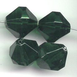 EMERALD 18MM BICONE FACETED BEADS - Lot of 12