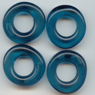 SEA GREEN 28MM UNIQUE DONUT BEADS - Lot of 12