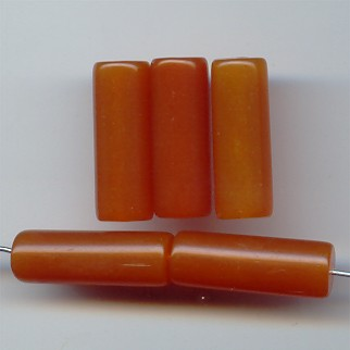 AMBER 25X9MM CYLINDER SMOOTH TUBE BEADS - Lot of 12
