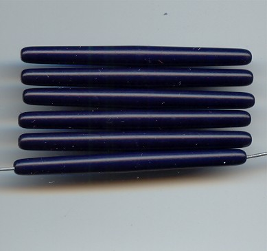 NAVY BLUE 58X5MM STICK TUBE BEADS - Lot of 12