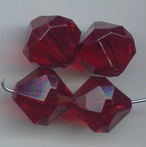 RUBY 15X15MM FACETED BEADS - Lot of 12